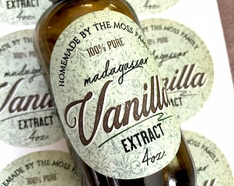 WATERPROOF Vanilla Extract Labels - Homemade Madagascar Vanilla Extract labels - Vintage Vanilla Extract bottle labels - Tea stained