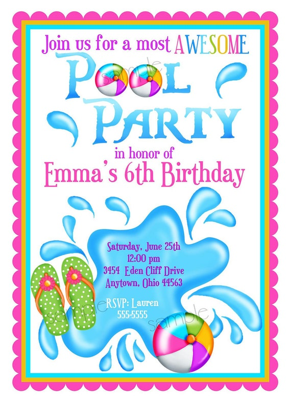 Pool Party Invitations Personalized Girl Summer Splash Beach Tropical Flip Flops Balls Birthday Children