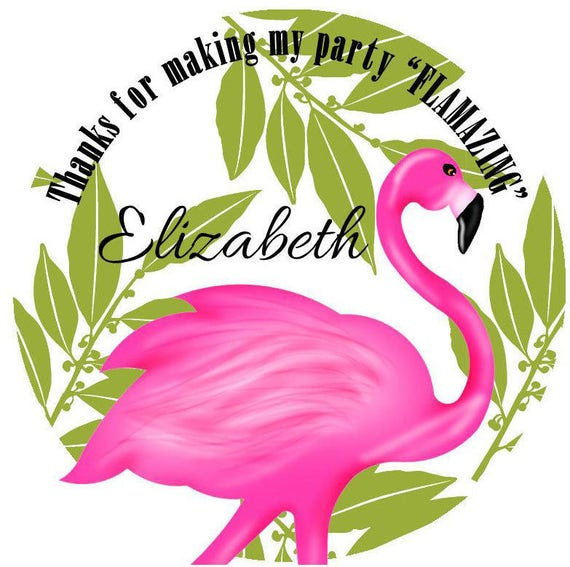 set of 12 flamingo tags tropical gift wrapping Gift tags personalized labels