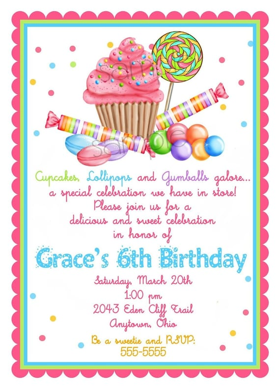 sweet shop birthday party invitations candy cupcake etsy