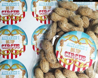 Circus Stickers, Big Top Circus Birthday Party, Carnival Stickers, Carnival Party,  Popcorn, Circus Peanuts, Circus Favors, favor labels