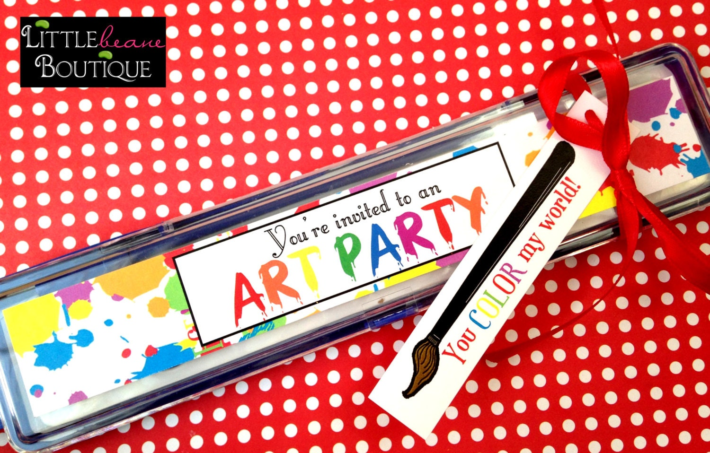 Printable Art Party Invitations Paint Box DIY Digital File Labels Children Kids Preschool