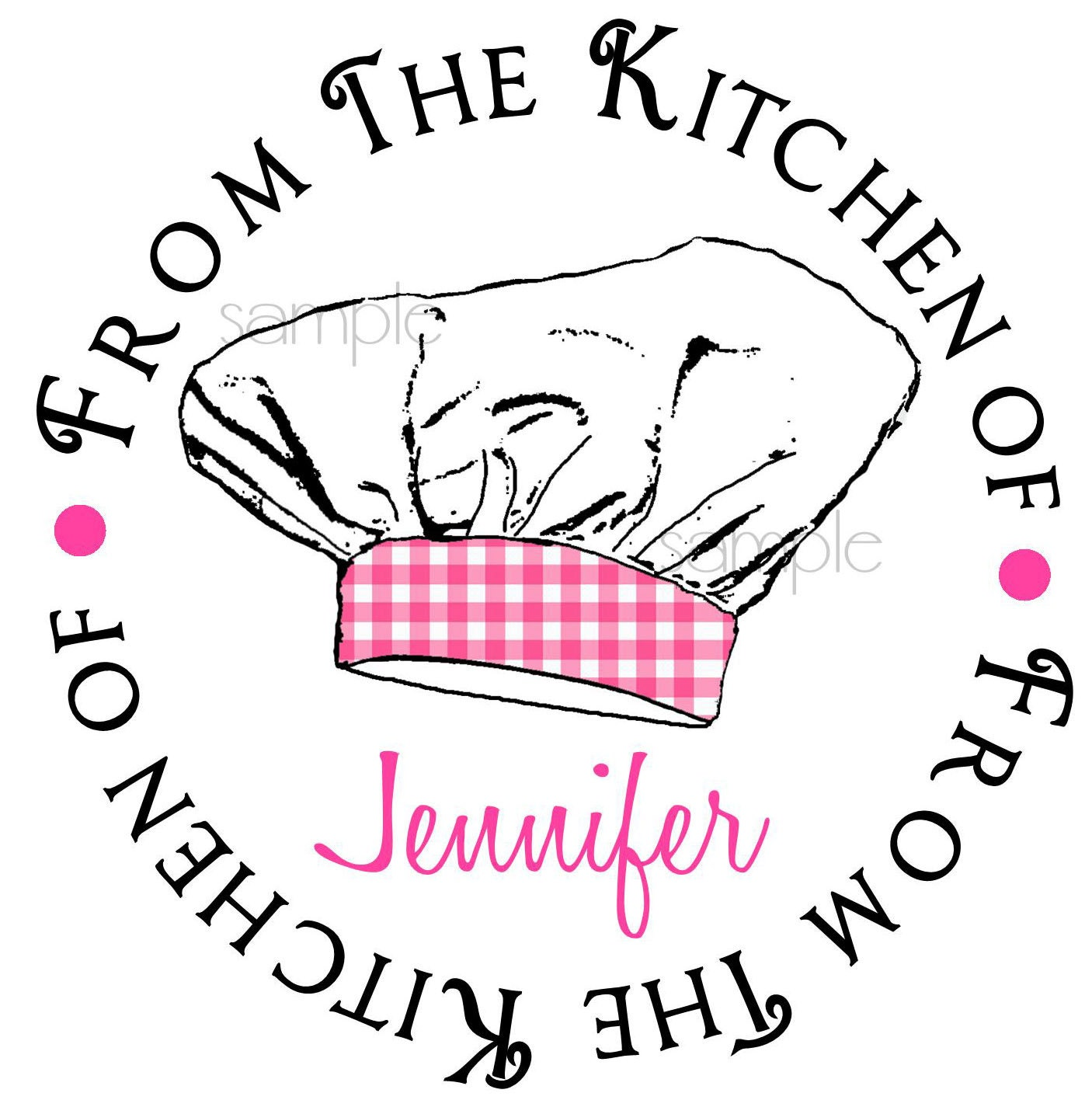 Personalized baking stickers chef hat 2 baking stickers cooking from the kitchen of labels seals gift stickers