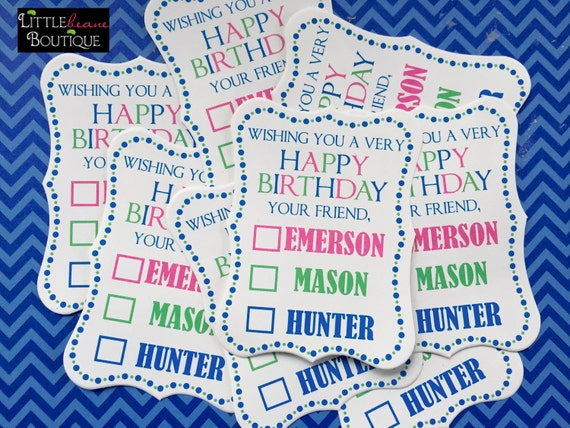 Birthday Gift Stickers Labels Present Personalized Kids Names Custom Colors Children
