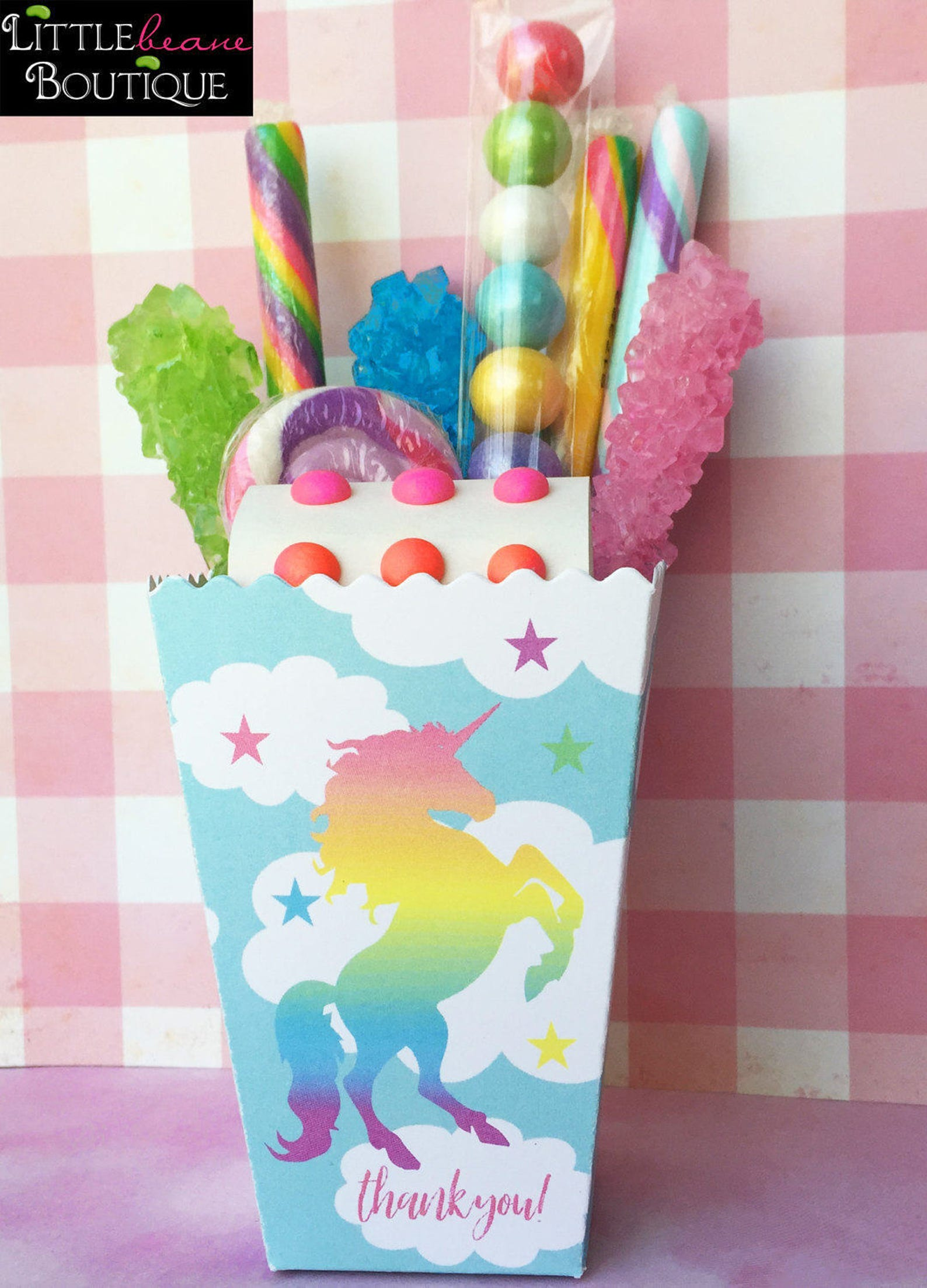 Unicorn Party Popcorn Boxes for 8 Guests