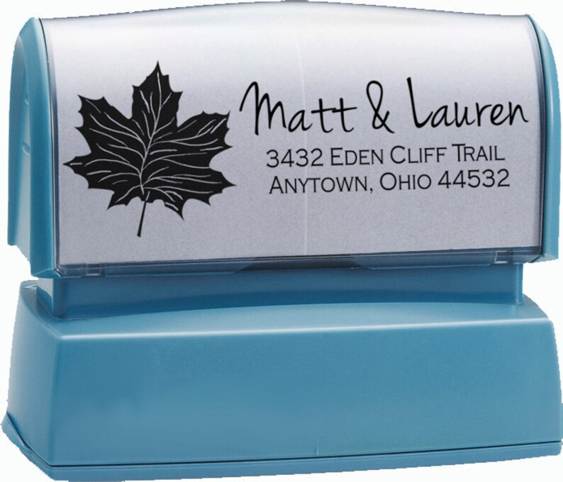 Fall Leaf Address Stamp,Fall leaves Stamp self inking,Fall Leaf rubber stamp Autumn,Wedding Stamp,Custom Stamp,Personalized Stamp,#16-47