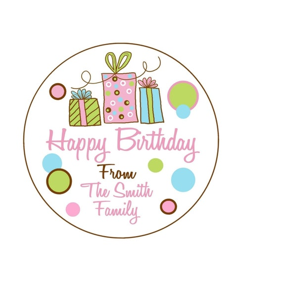 Personalized Gift Stickers Littlebeane Birthday Gifts Children Kids Favor Polka Dots Set Of 12