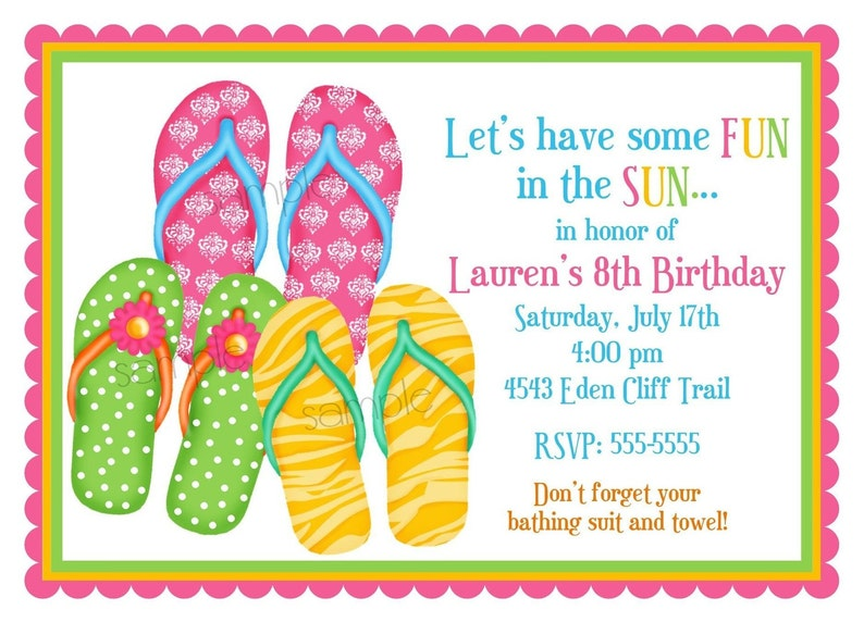 fd04634d953f Flip Flop Invitations Flip Flops Summer Pool Party Beach
