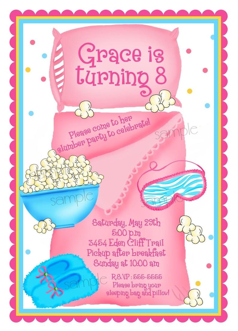 Sleepover Invitations Slumber Party Personalized Pajama Birthday Girls Kids Children