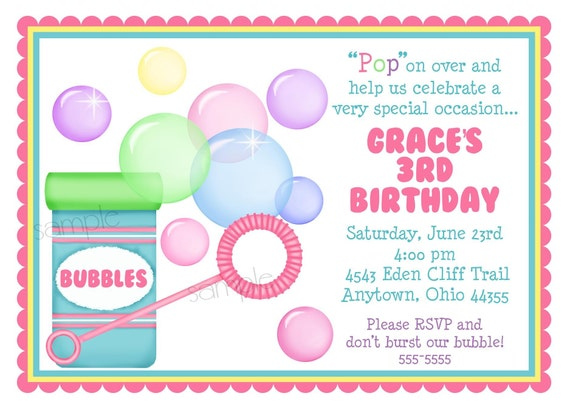 bubble invitations blowing bubbles birthday party bubble etsy
