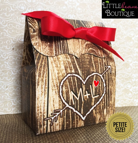 Rustic Wedding Favor Boxeswood Grain Favor Boxcarved Initials