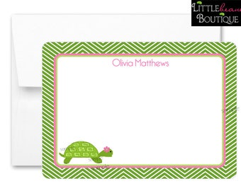 Turtle Stationery,Turtle Notecards, Preppy Turtle, Flat notecards, Chevron Notecards, Girls, Thank you Notes, childrens stationary