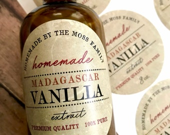 Vanilla Extract Labels - Homemade Madagascar Vanilla Extract labels - Vintage Vanilla Extract bottle labels - Water Resistant