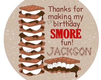 Smores stickers, Camping favor labels,  S'mores labels, Camping stickers, smores party favors, gift stickers, seals, tags