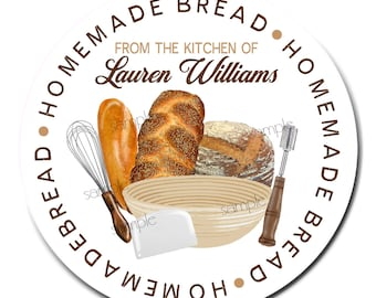 Homemade Bread Labels, Bread Baking labels, Personalized Bread labels, Artisan Bread labels, Baking Labels, From the Kitchen of
