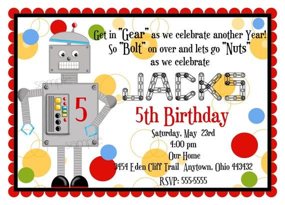 robot birthday party invitations robot invitations robot etsy