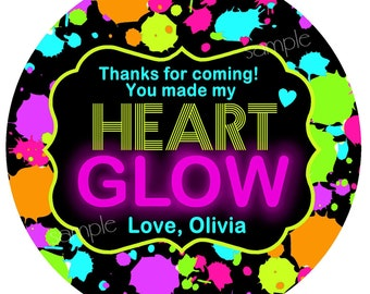 Glow Party Stickers, Neon, Glow Party favors,Glow in the dark party,favor labels,cosmic bowling,rollerskating,blacklight party
