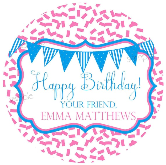 birthday gift stickers personalized kids gift labels etsy
