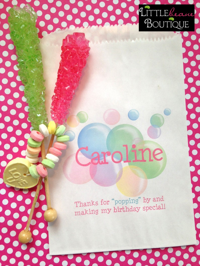 Sweets bubble Favor bags Bubble Birthday party Bubble party favors Personalized candy bags Birthday party Candy Buffet Treats