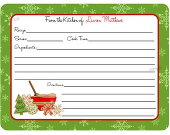 Christmas Cookie Swap Recipe Cards, Cookie Exchange Recipe cards, christmas cookies, Baking, Cooking, Kitchen, CUSTOM COLORS, Set of 12