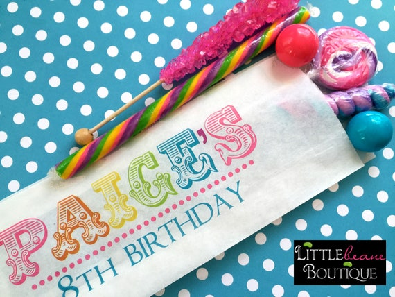 a075a35b494 Personalized Rainbow Name Candy Bags, Birthday Name, Treat bags, Favor bags,  Candy Buffet, Birthday party