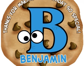 Chocolate Chip Cookie Stickers, Googly eyes, Cookie labels, Birthday Party, monster eyes, chocolate chip cookies, Favor labels