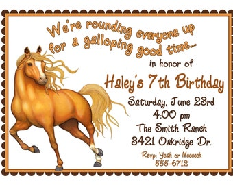 Horse Invitations, Horse Birthday party invitations, Horse invites, Western, Wild West, Cowboy, Kids, Children