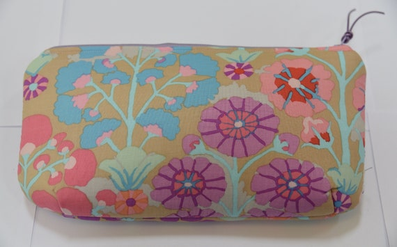 Sweet little abstract floral print cosmetic bag with lavender   Etsy b789a676563
