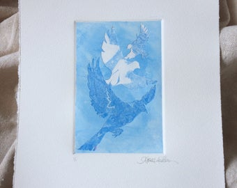 Original Art Stencil Print - Flight Pattern - in Sky Blue