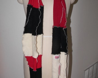 Handmade Up-Cycled Red/Black/Beige Sweater Scarf