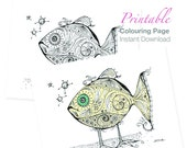 Dead Fish Walking Colouring Page PDF download Printable