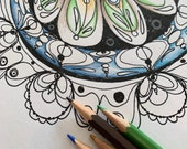 Delicate Mandala Printable Coloring Page PDF Printable Hand Drawn, Digital Download