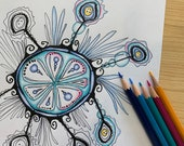 Cascading Snowflake Coloring Page for Adults PDF Digital Download