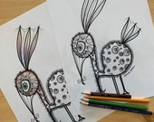 Sylvie the Bird, Printable Coloring Page for Adults PDF Printable Hand Drawn, Digital Download