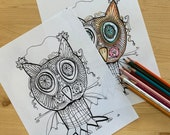 Bat Owl, Colouring Page for Adults or Children, PDF Digital Download, Instant download