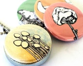 Mushrooms (recycled magnetic locket set)