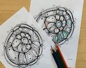 Blossom Mandala Art Printable Coloring Page for Adults PDF Printable Hand Drawn, Digital Download