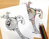Conjoined Twins Printable Colouring Page for Adults PDF Printable art, digital download WEIRD