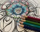 Felicity Mandala Art Digital Download, pdf, Printable, coloring page for adults