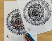 David and Goliath, Mandala Art, Printable Coloring Page for Adults PDF Printable Hand Drawn, Digital Download