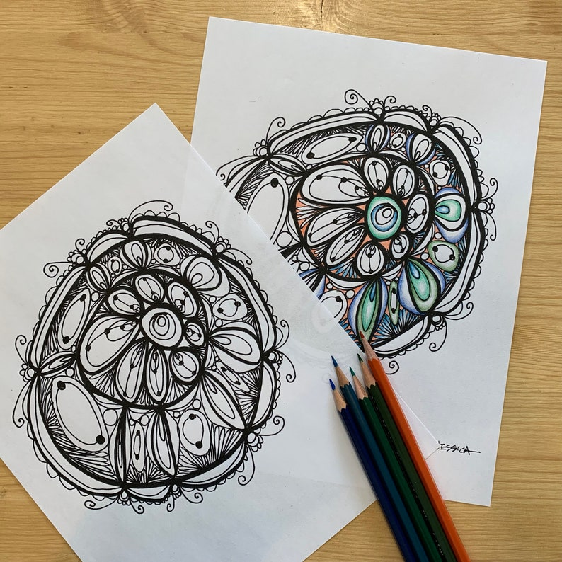 Blossom Mandala Art Printable Coloring Page for Adults PDF Printable Hand Drawn Digital Download