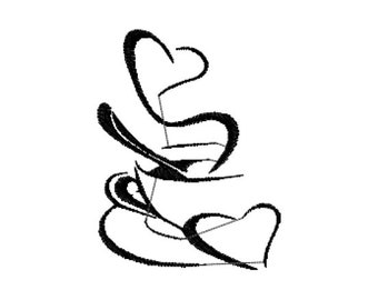 Abstract Coffee Hearts Machine Embroidery Design File