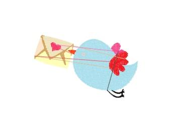 Valentine Bird Machine Embroidery Design File
