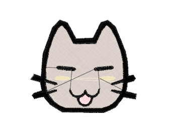 Cat Face Machine Embroidery Design File