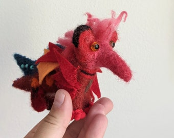 Needle felted red dragon, dragon figure