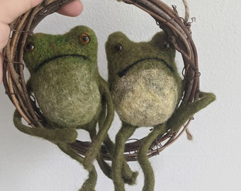 Two Needle felted frogs, toad art, needle felted animal
