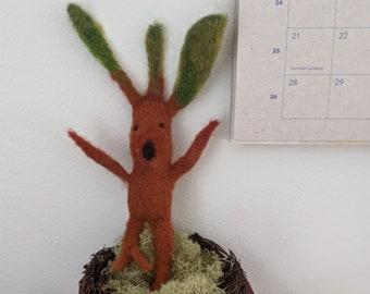 Needle felted baby Mandrake, crazy plant lady, Mandrake
