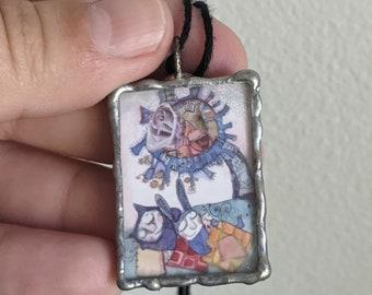 Sleepy tree/blue dream  reversible  ART pendant