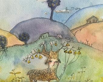 """Deer original art, watercolor painting 5x7"""""""