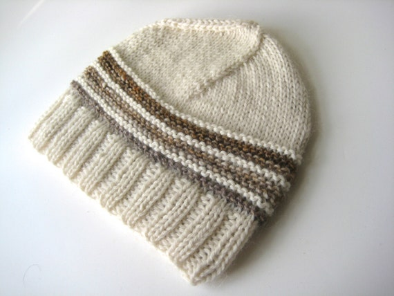 cream wool hat knit wool off white cap  de2c9d45109